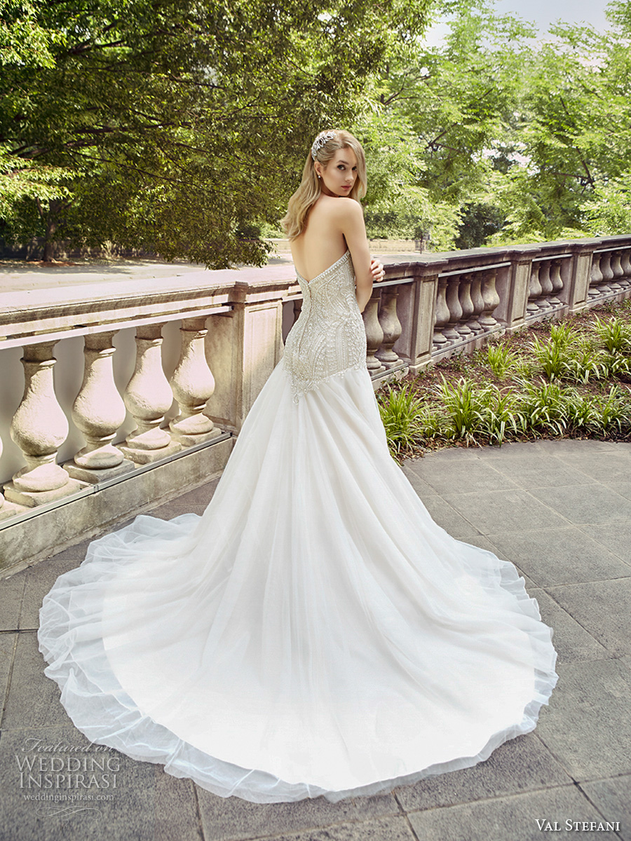 val stefani spring 2017 bridal strapless sweetheart neckline heavily embellished bodice drop waist a line wedding dress chapel train (d8126) bv