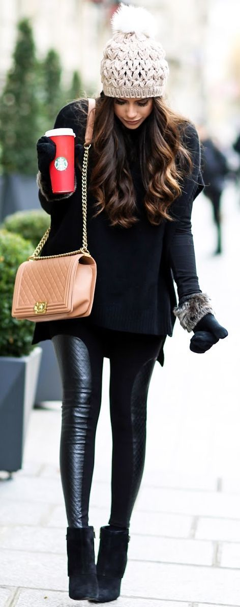 black knit, leather leggings, heels, mittens and a cozy beanie