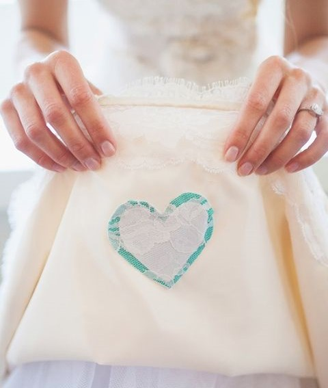 tiffany blue heart attached to the dress on the inner side