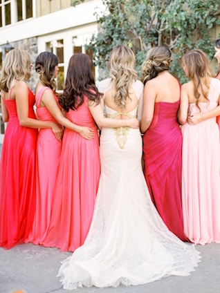Bridesmaids dresses pink to red gradient | Love in Photographs