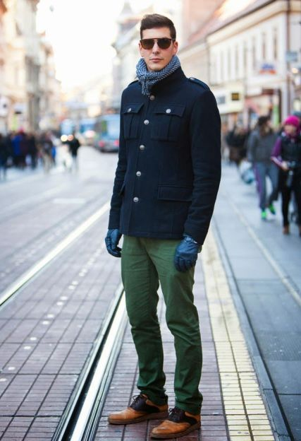 With green pants, two color shoes and printed scarf