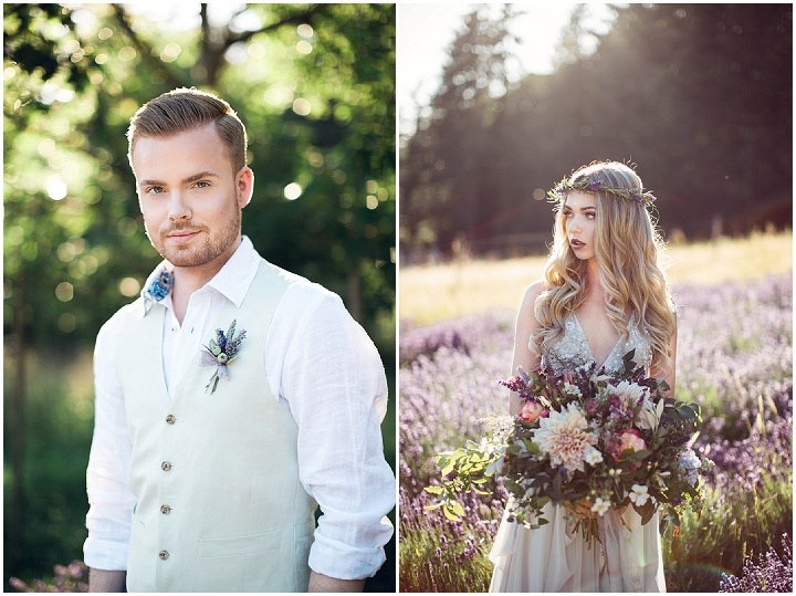 The groom was wearing an ivory vest, a white shirt and a lavender boutonniere