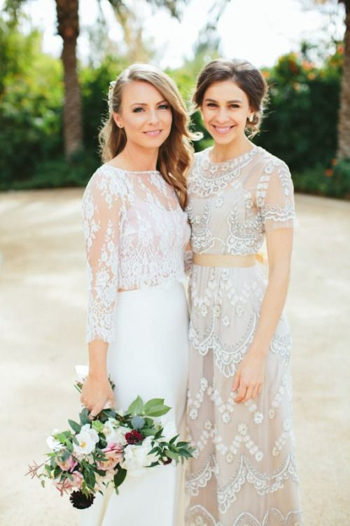 trendy embellished bridal separates with maxi skirts look awesome together