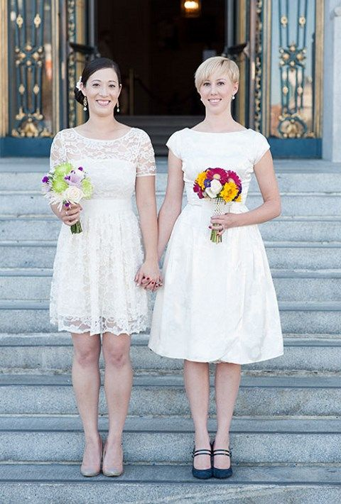 knee-length wedding gowns with cap sleeves look cute together