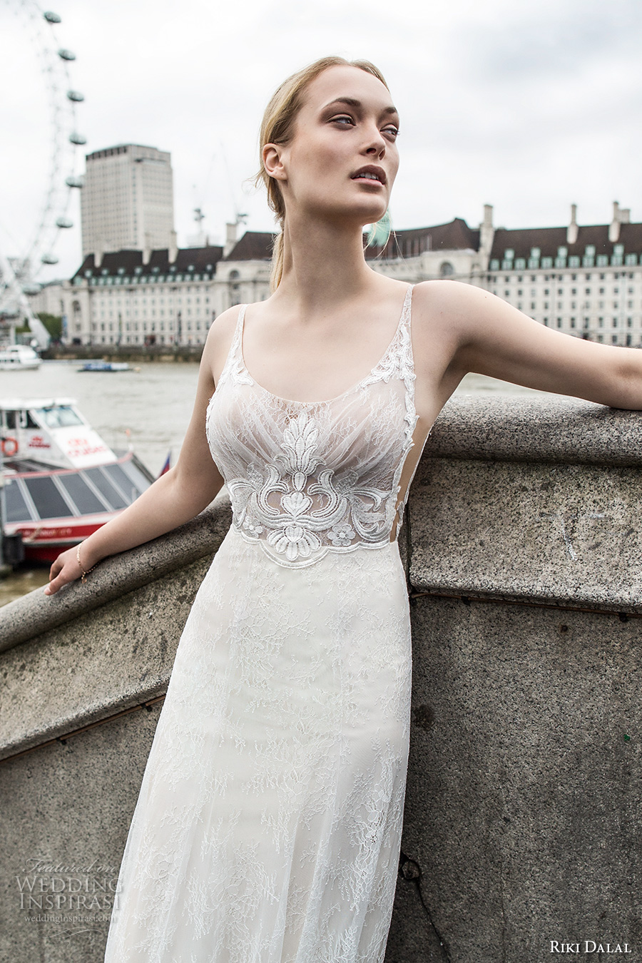 riki dalal fall 2017 bridal thin strap scoop neck heavily embellished bodice elegant sexy sheath wedding dress royal train (1909) mv