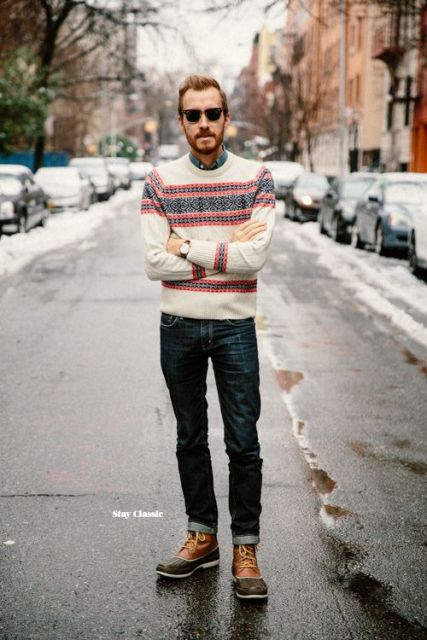 With shirt, printed sweater and jeans