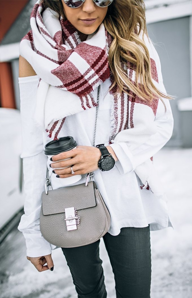 jeans, a white off the shoulder swetaer and a comfy blanket scarf