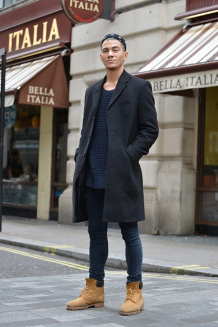 With long sweater, jeans and black coat