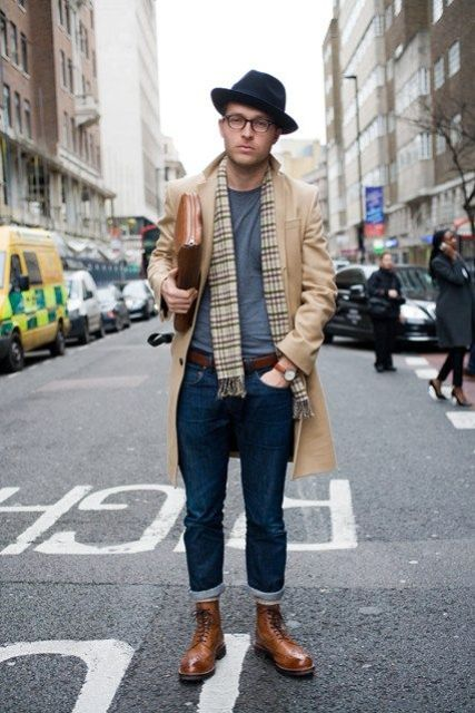 With camel coat, printed scarf, hat and cuffed jeans