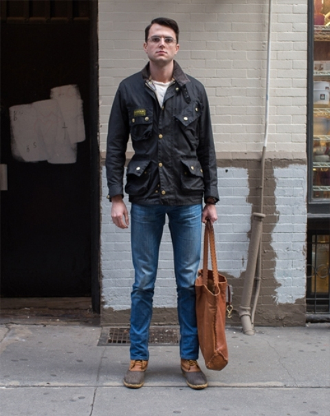 With shirt, straight jeans, jacket and tote