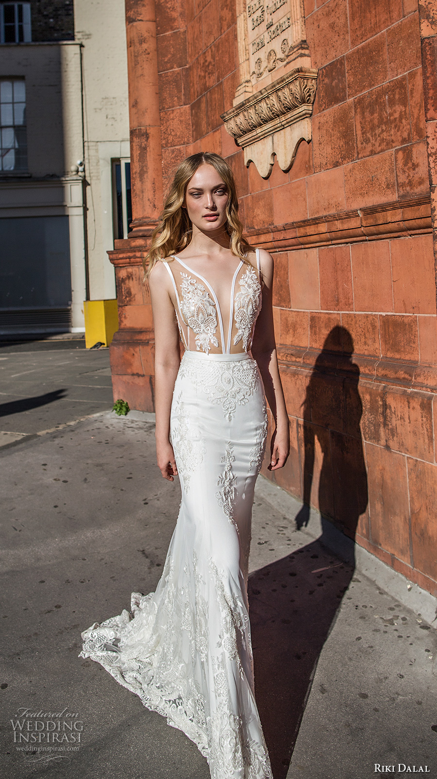 riki dalal fall 2017 bridal sleeveless plunging v neck heavily embellished bodice elegant sexy sheath wedding dress low v back chapel train (1917) mv
