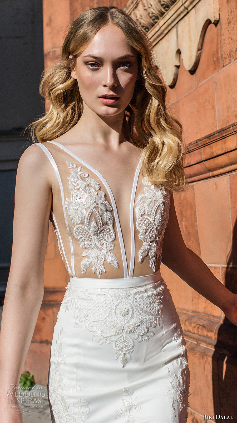 riki dalal fall 2017 bridal sleeveless plunging v neck heavily embellished bodice elegant sexy sheath wedding dress low v back chapel train (1917) zv