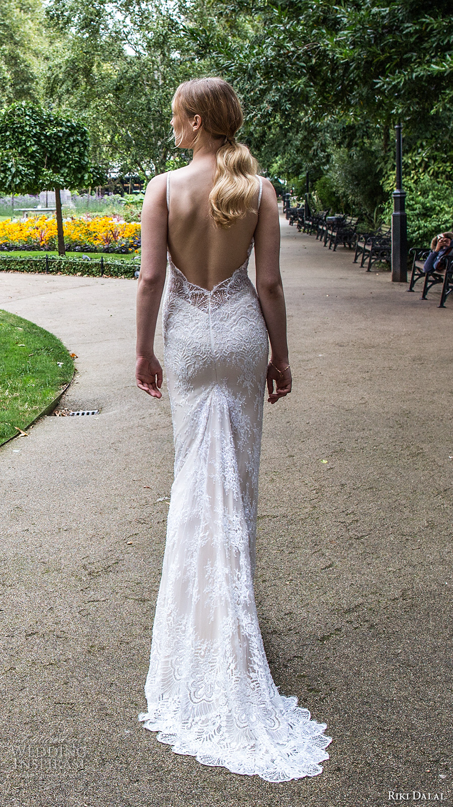 riki dalal fall 2017 bridal spagetti strap scoop neckline heavily embellished bodice elegant sexy sheath wedding dress low back sweep train (1916) bv