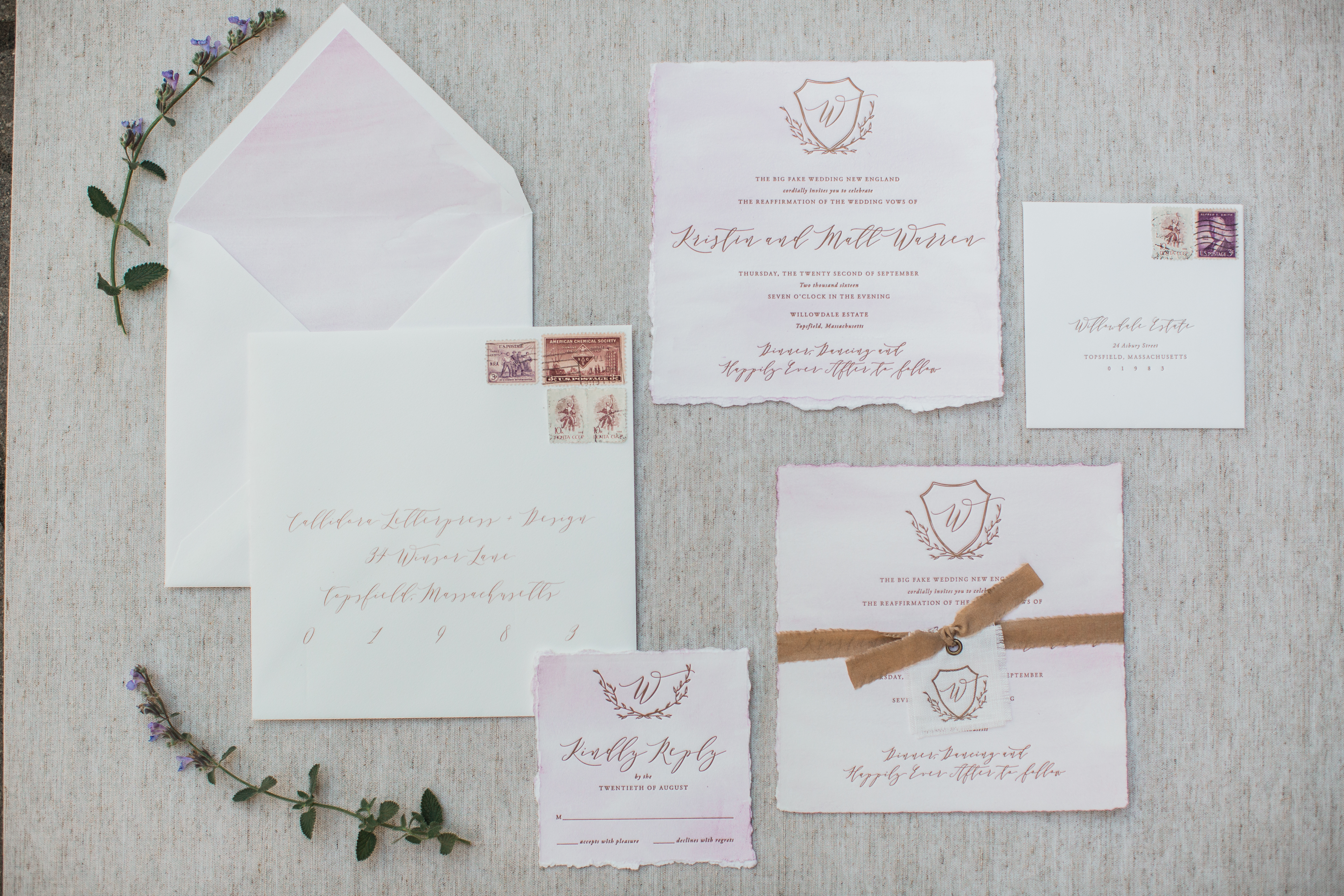 watercolor wedding invitations - photo by Kivalo Photography http://ruffledblog.com/fall-wedding-inspiration-from-the-big-fake-wedding