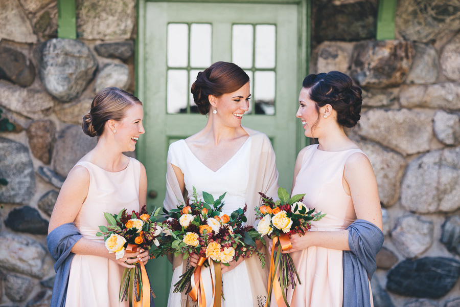Fall bridesmaids' dresses - photo by Leona Campbell Photography http://ruffledblog.com/fall-wedding-inspiration-from-the-big-fake-wedding