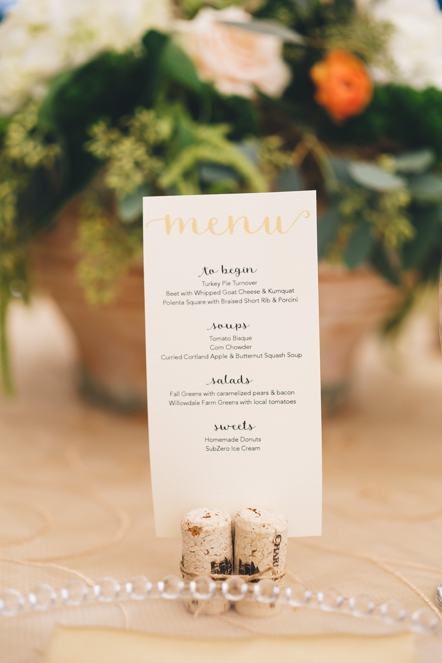 wedding menu - photo by Leona Campbell Photography http://ruffledblog.com/fall-wedding-inspiration-from-the-big-fake-wedding