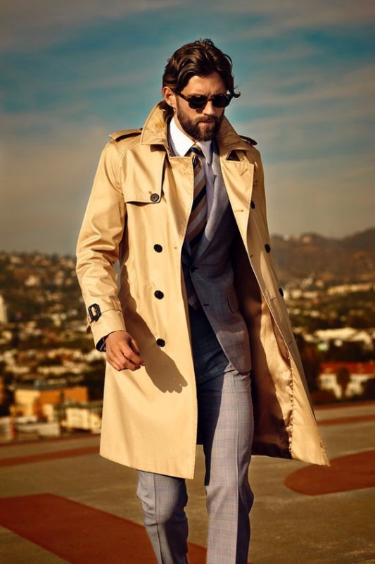 Trench coat with formal suit