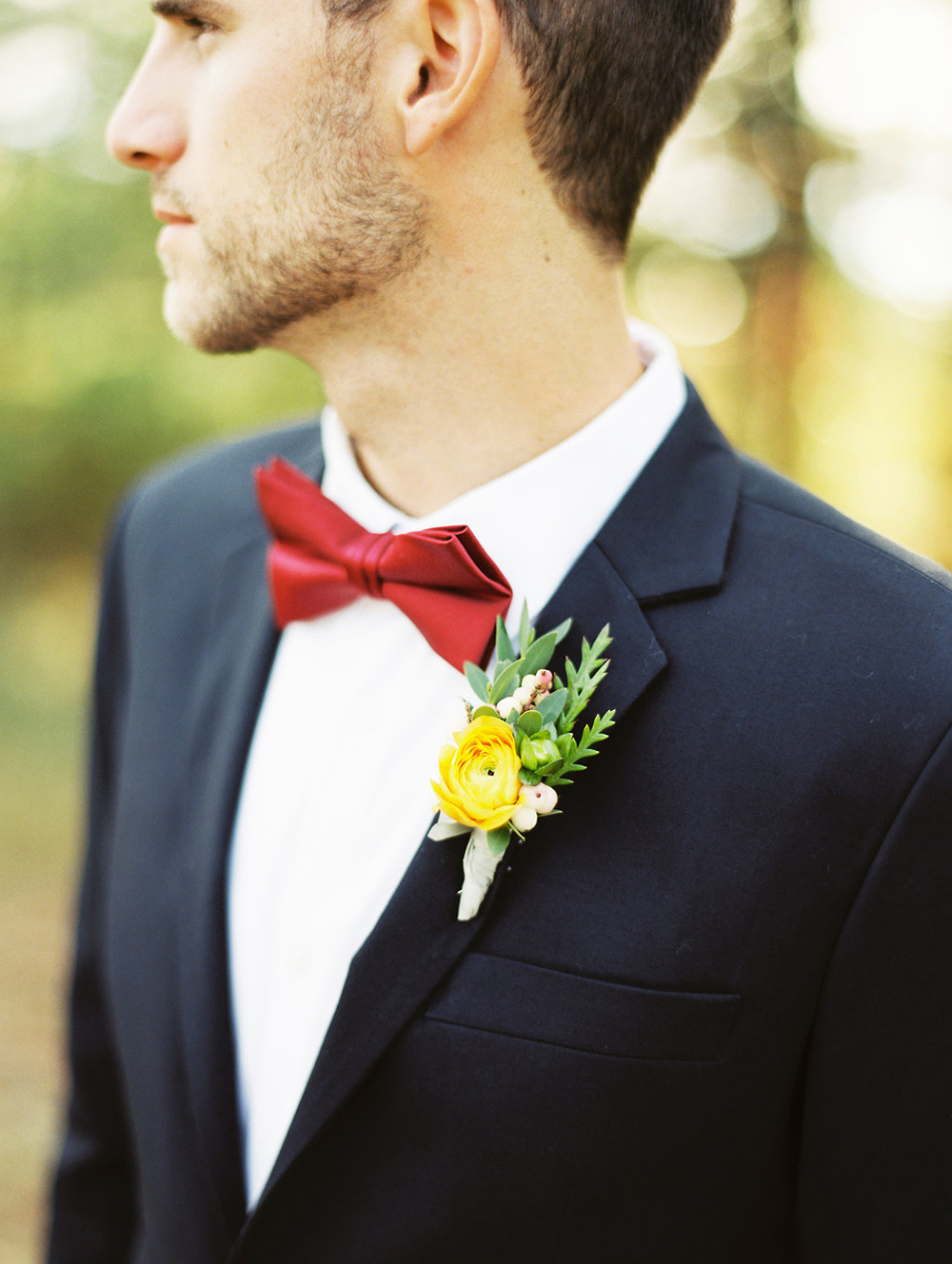 yellow and green boutonnieres - photo by Evelyn Barkey Photography http://ruffledblog.com/romantic-elopement-inspiration-with-rich-colors