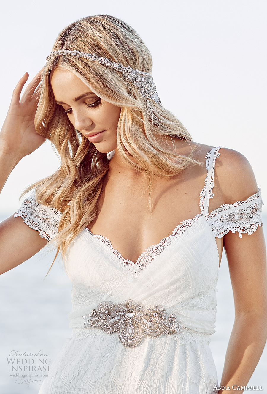 anna campbell 2017 bridal off the shoulder lace strap sweetheart neckline full embroidered elegant sheath wedding dress open back chapel train (mia) zv
