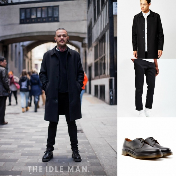 Black attire with trench coat