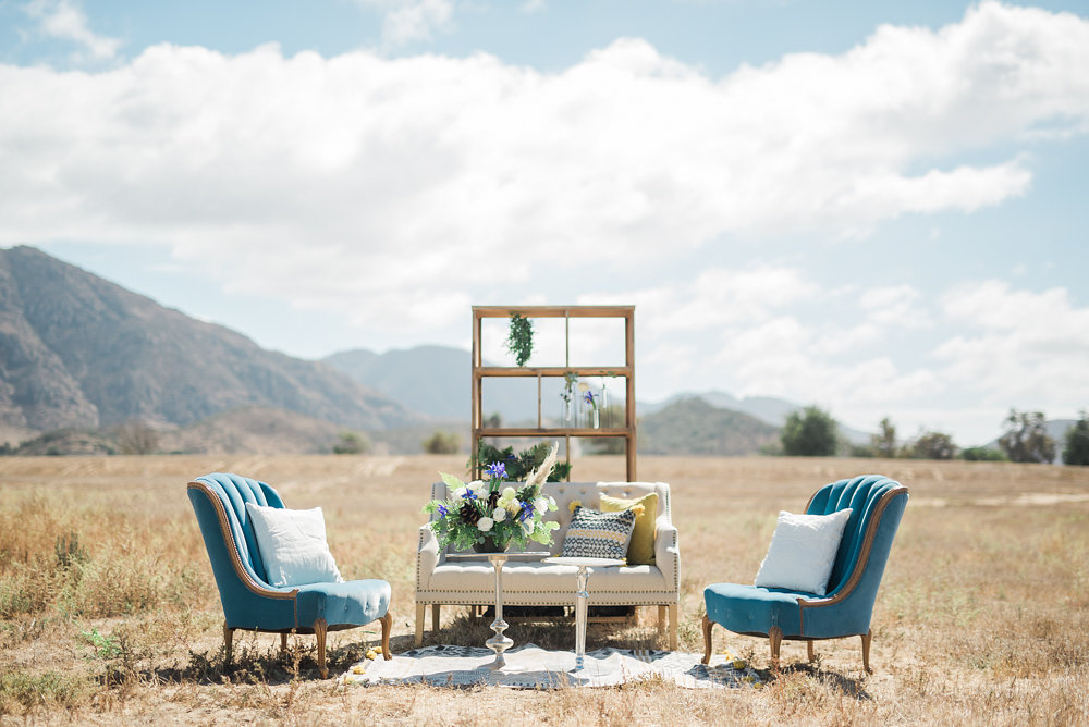 wedding reception lounge - photo by Anya Kernes Photography http://ruffledblog.com/organic-wedding-inspiration-with-shades-of-blue