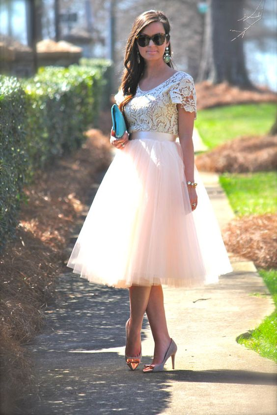 blush tulle skirt, a white lace top and heels with bows