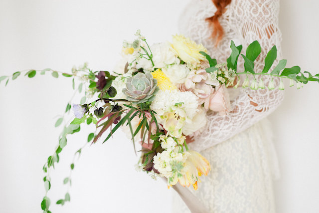 Yellow and succulent bridal bouquet | Vanessa Velez Photography