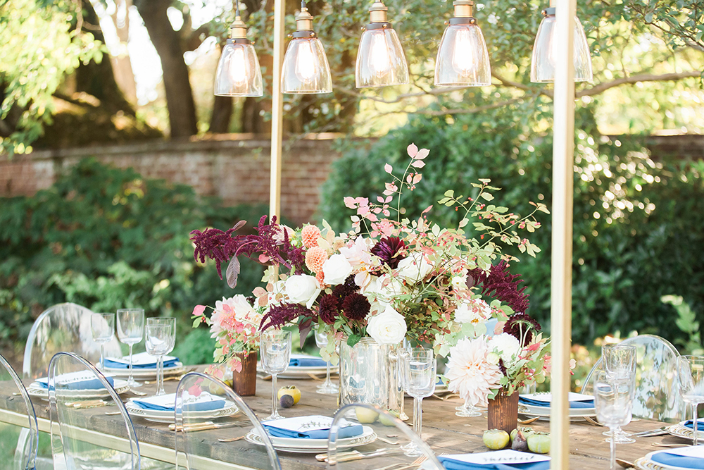 wedding tables - photo by Candice Adelle Photography http://ruffledblog.com/historic-garden-wedding-inspiration
