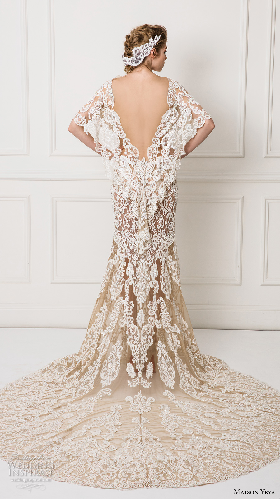 maison yeya 2017 bridal flutter sleeves v neck full embellishment elegant lace sheath wedding dress open v back chapel train (8) bv