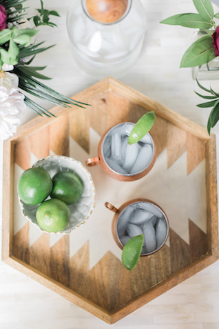 Midcentury modern drink tray | Brittany Schlamp Photography