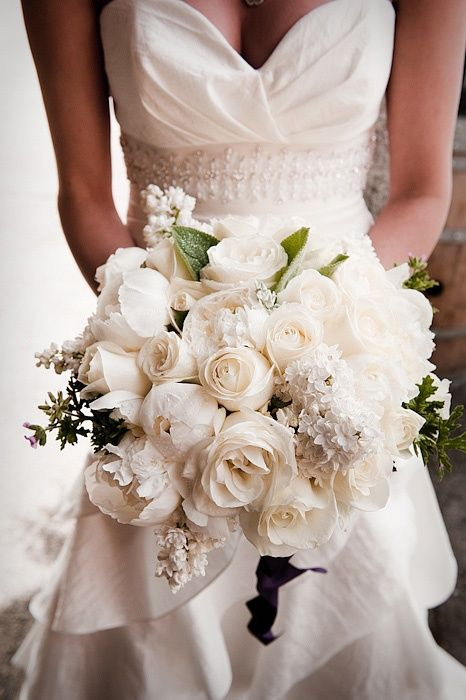 gorgeous all-white bouquet with roses and peonies