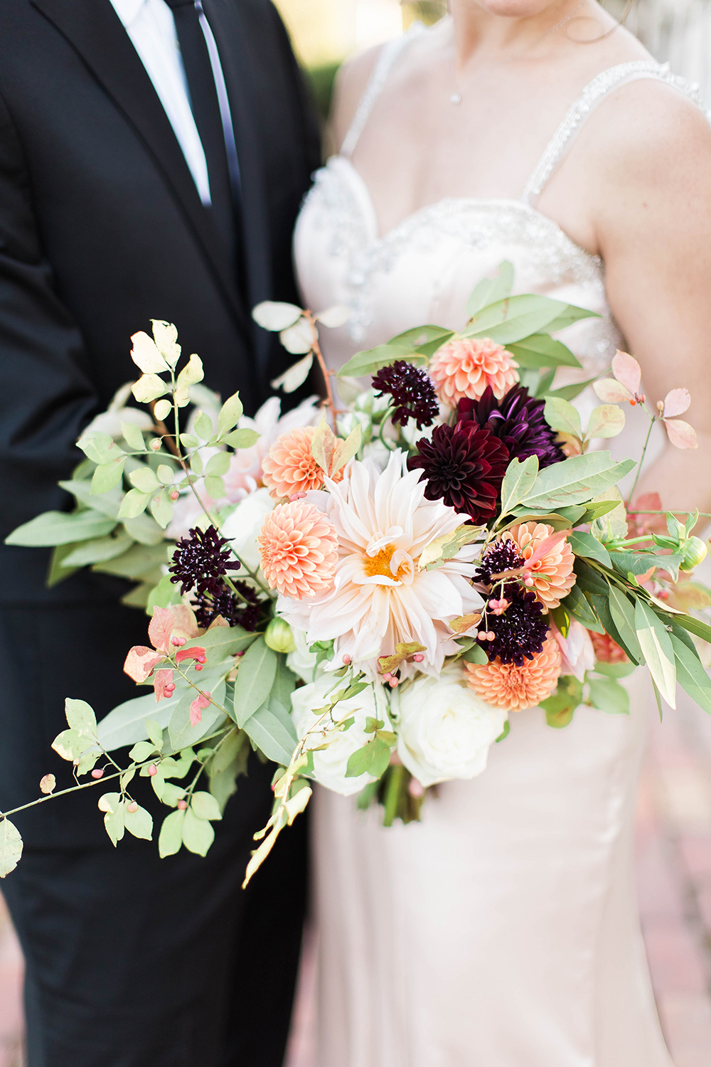 peach and burgundy bouquet - photo by Candice Adelle Photography http://ruffledblog.com/historic-garden-wedding-inspiration