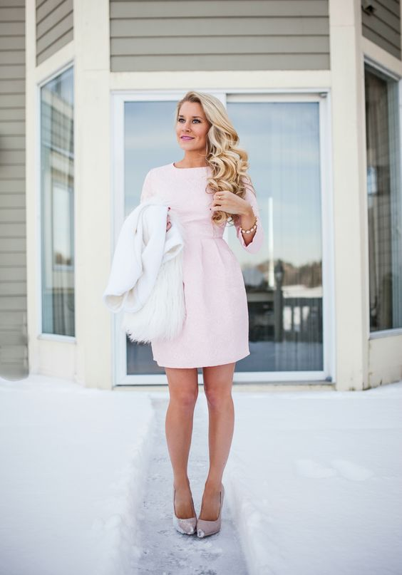 candy pink mini dress and dhoes, a white fluffy coat