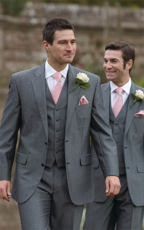 dark grey suits and light pink ties for a contrast
