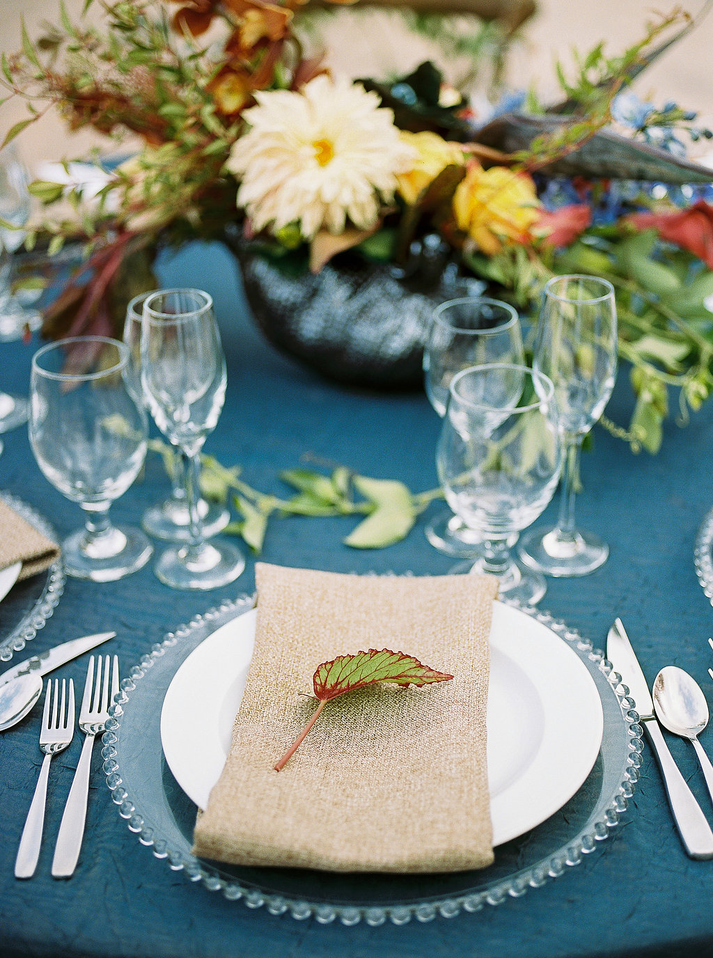rustic tablescapes - photo by Alexandra Elise Photography http://ruffledblog.com/cobalt-and-amber-wedding-inspiration