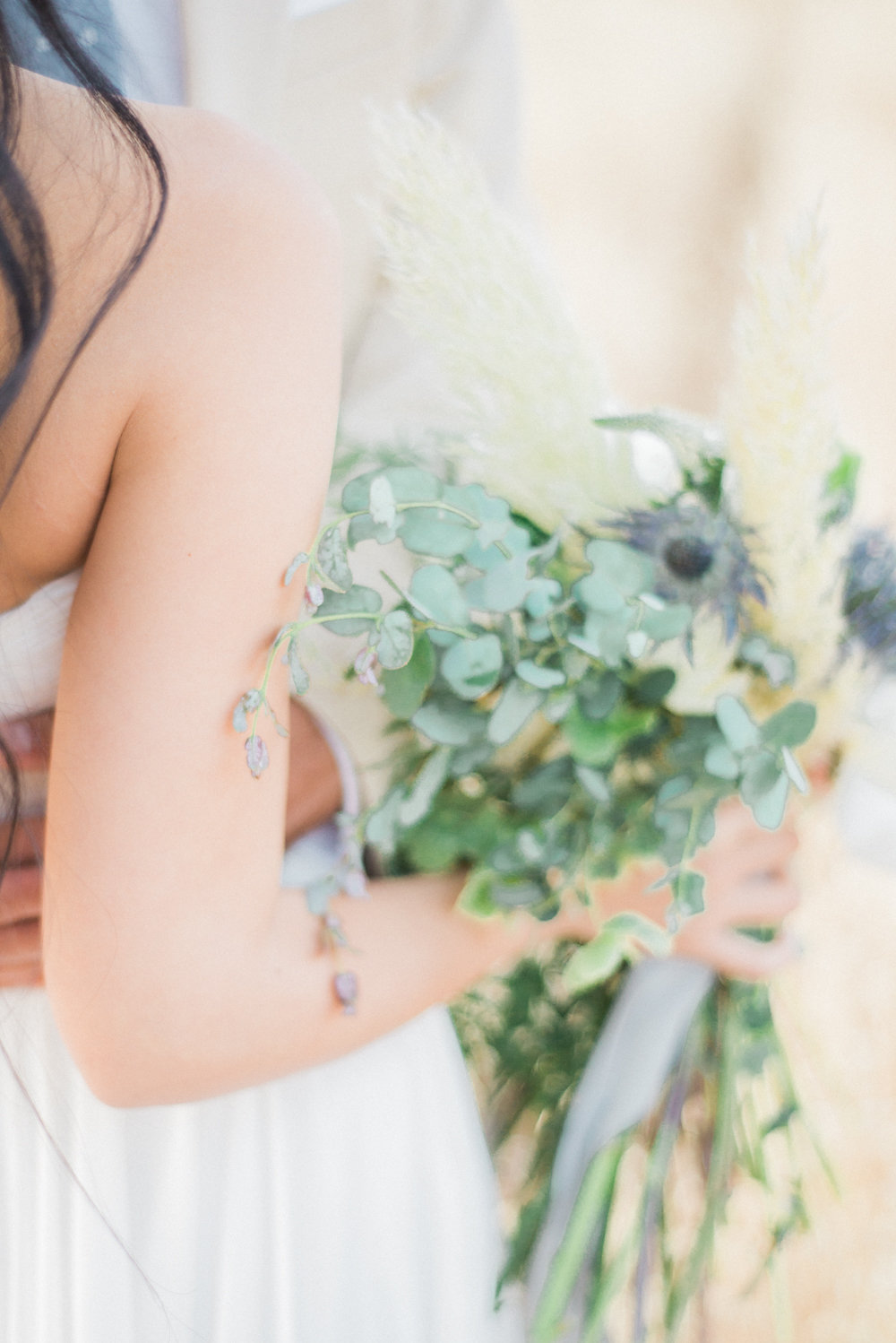 wedding flowers - photo by Anya Kernes Photography http://ruffledblog.com/organic-wedding-inspiration-with-shades-of-blue