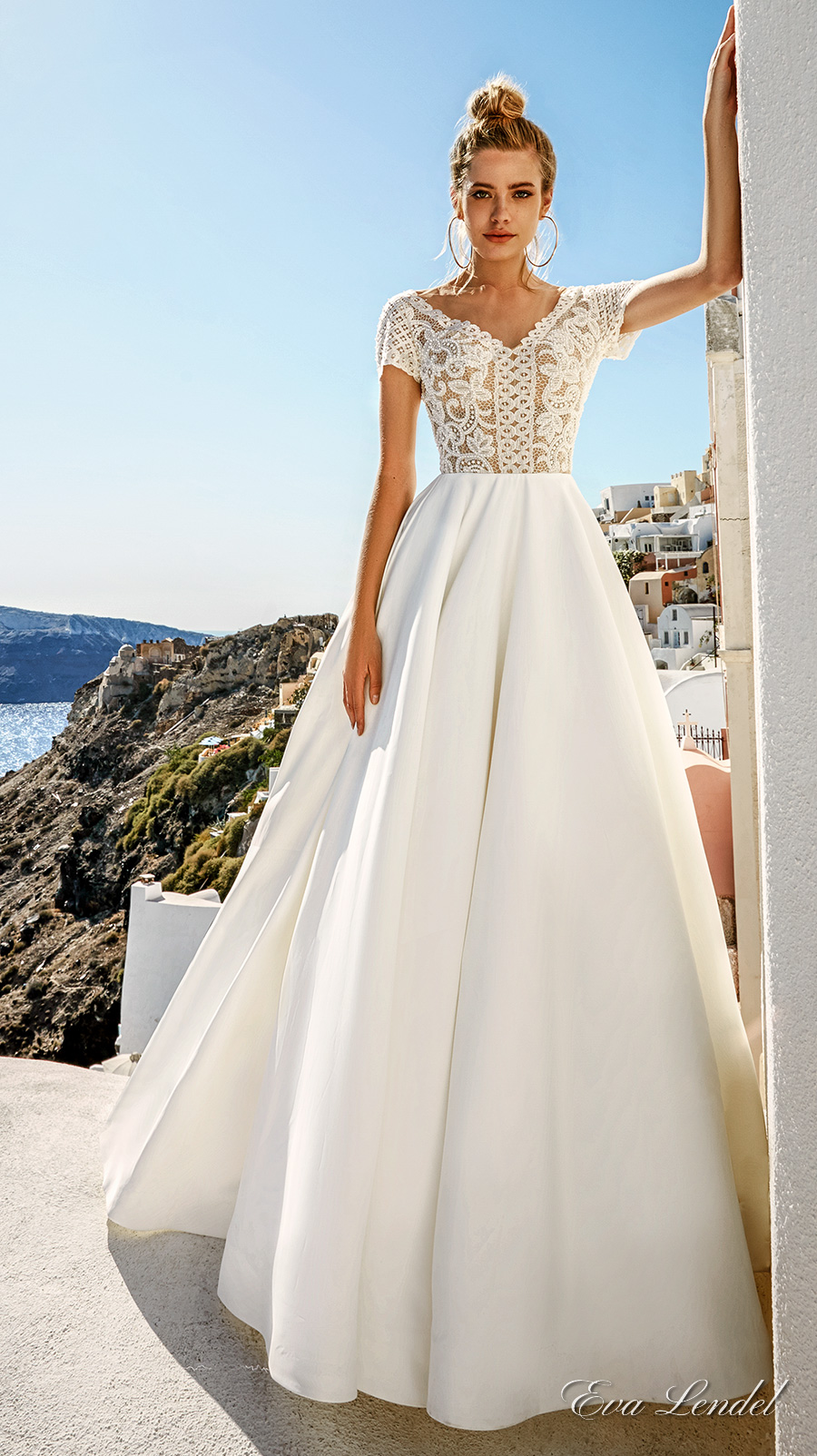 eva lendel 2017 bridal short sleeves v neck heavily embellished bodice romantic pretty a line wedding dress sheer v back royal train (sidny) mv