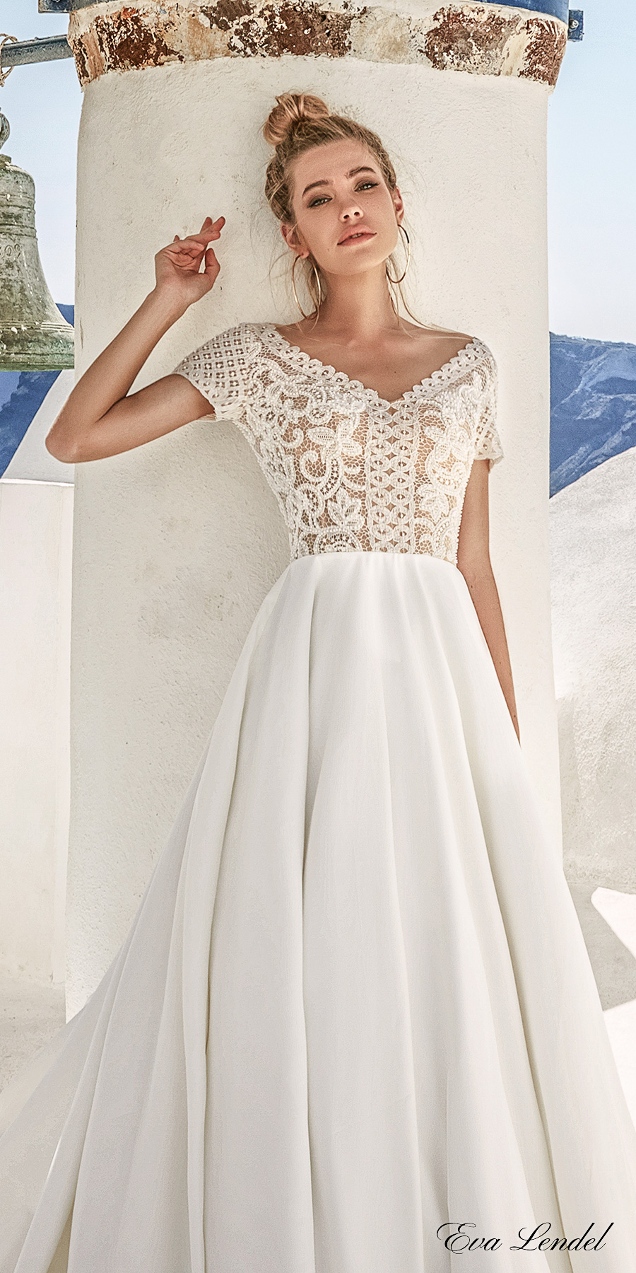 eva lendel 2017 bridal short sleeves v neck heavily embellished bodice romantic pretty a line wedding dress sheer v back royal train (sidny) zv