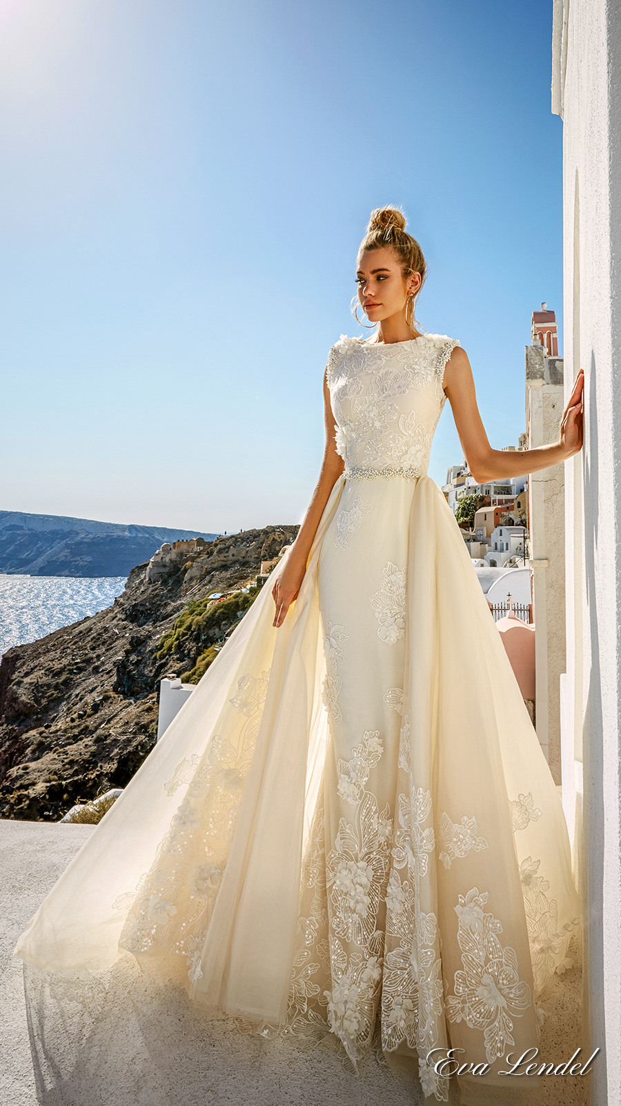 eva lendel 2017 bridal sleeveless jewel neckline heavily embellished bodice elegant fit and flare wedding dress a line overskirt full lace back sweep train (maya) mv