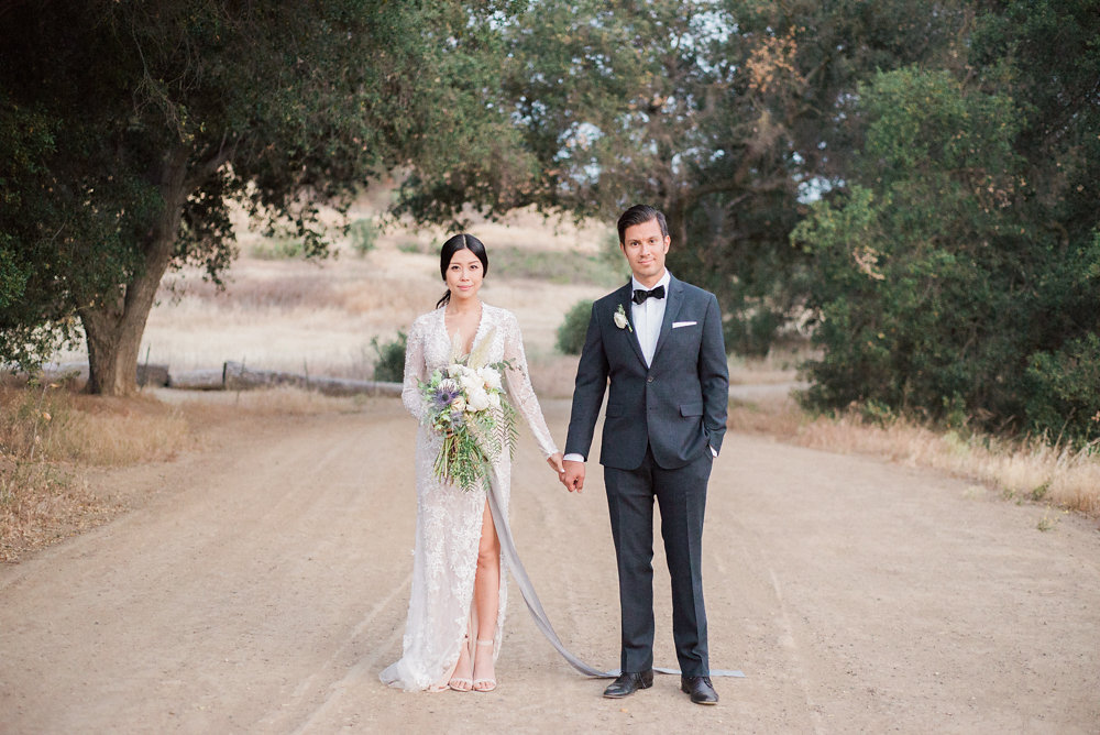 chic bride and groom - photo by Anya Kernes Photography http://ruffledblog.com/organic-wedding-inspiration-with-shades-of-blue