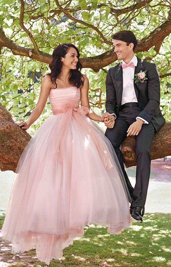 strapless pink wedding ballgown with a bow