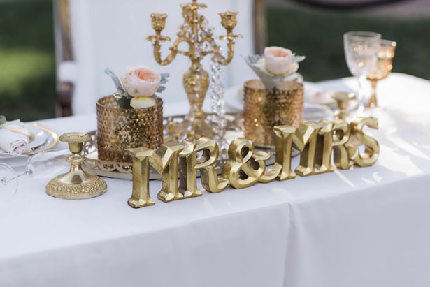 Gold wedding decor - William Innes Photography