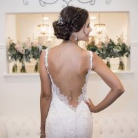 Low back cut bridal dress - William Innes Photography
