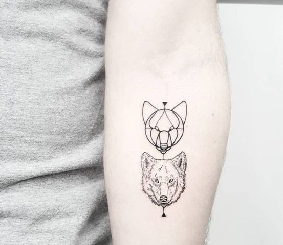 Geometric tattoo on the arm