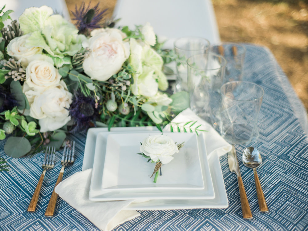 place setting - photo by Anya Kernes Photography http://ruffledblog.com/organic-wedding-inspiration-with-shades-of-blue