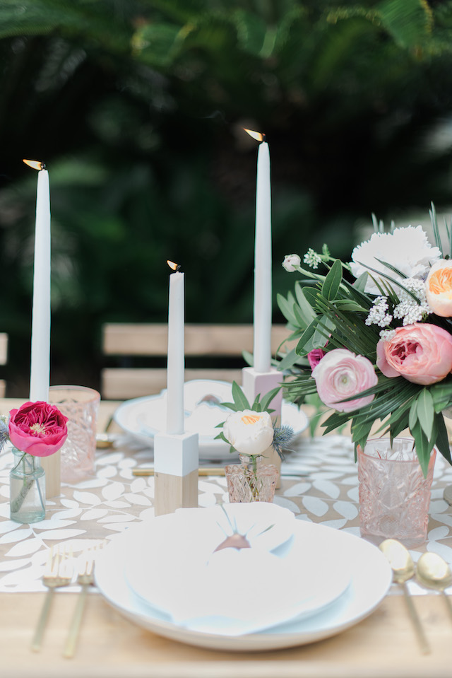 Mid century modern wood block candle holders | Brittany Schlamp Photography