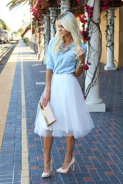 a white tutu skirt, a chambray shirt, blush heels and a statement necklace