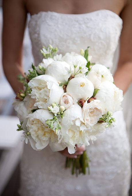 elegant all-white bouquet with lush peonies and garden roses