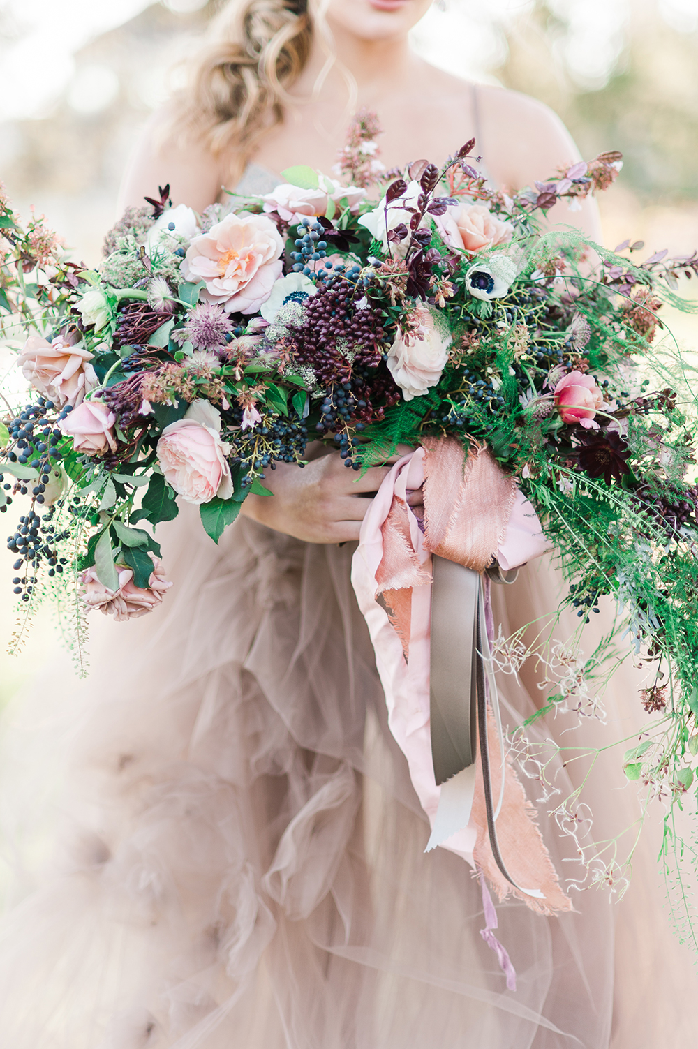 wild bouquet with anemones - photo by Jenny B Photos http://ruffledblog.com/ethereal-wedding-inspiration-with-vintage-accents