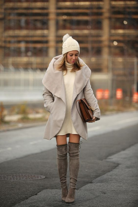 cream sweater dress, grey over th eknee boots and a taupe coat